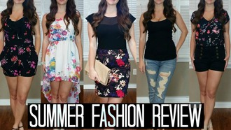 romper bright spring black floral ruffle white high low dress sheer mesh see through skirt nude clutch tan foldover beige boyfriend jeans destroyed ripped waisted shorts nautical botanic anchor pin up vintage retro summer blouse top bag fashion review youtube pinterest