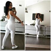 jumpsuit,white,draya michele,bodysuit,romper,nude,nude dress,india westbrooks,all white everything
