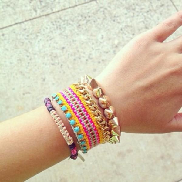 jewels bracelets orange green