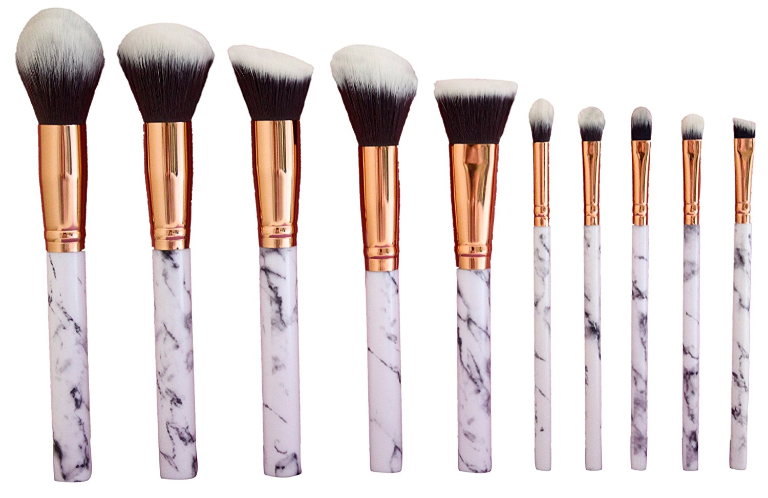 Amazon.com: Professional makeup brushes set 10pcs with white marble look makeup brush handle: Kitchen & Dining