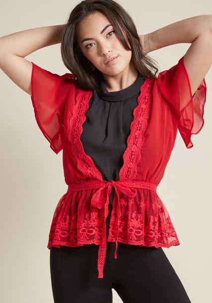 Modcloth cardigan lace cardigan cardigan lace red sweater