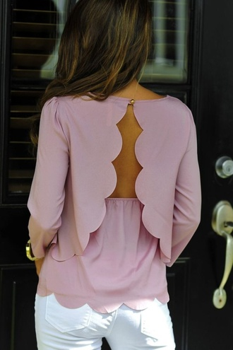 blouse scalloped purple blouse shirt pink open back scalloped shirt purple top scalloped edges rose back cut outs open back shirt scallops pastel cute preppy scalloped flowy pink blouse long sleeves style mauve cut-out scalloped blouse same color and material pink open back