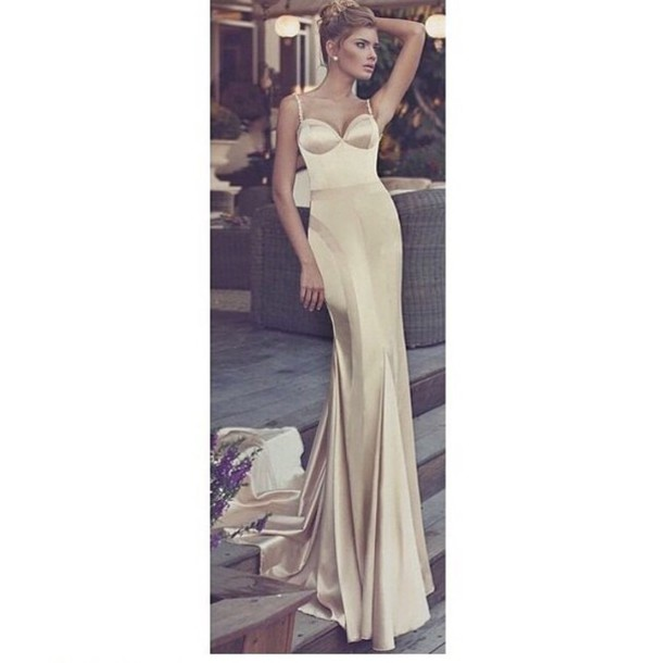 long prom dress long dress romantic dress prom dress maxi dress silk girl cream dress cream prom gold chic sexy
