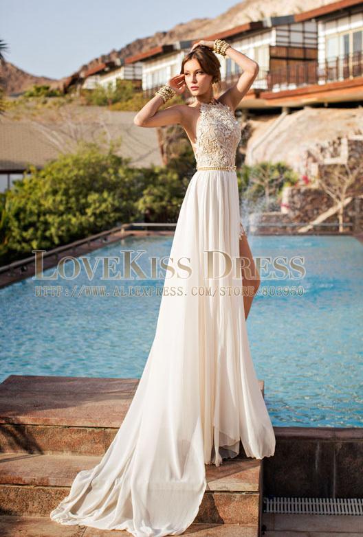 9d1dd2894f3d Aliexpress.com   Buy Sleeveless Beading Lace Top See Through Halter Neck  Chiffon Long Prom Dresses 2015 ...