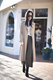 pants,coat,tumblr,khaki,khaki pants,cropped pants,culottes,trench coat,camel,camel coat,boots,black boots,top,stripes,striped top,sunglasses,work outfits,office outfits,white striped shirt,beige trench coat,black flared pants,blogger,round sunglasses