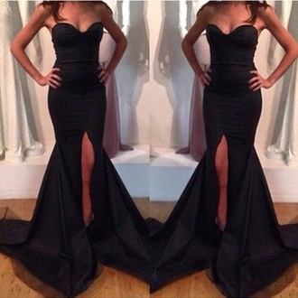 dress black dress prom dress black dress. leg slit. ball dress.    formal dress. high leg slit special occasional dresses black dress with one leg slit bandeau strapless dress maxi dress long dress black long dresses long tight dress black tight dress