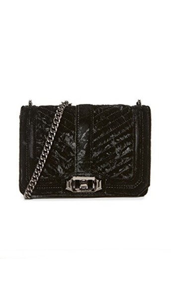 Rebecca Minkoff cross love crushed velvet quilted bag velvet chevron black