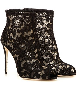 open boots ankle boots lace black shoes