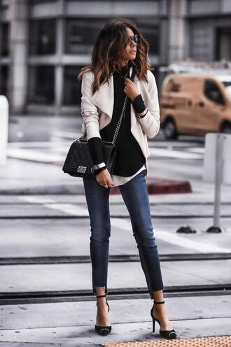 fashionedchic blogger jacket top tank top jeans shoes bag chanel bag pumps spring outfits