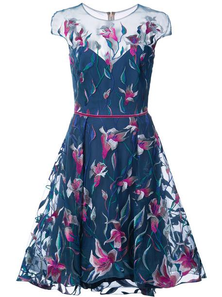 Marchesa Notte dress embroidered women blue