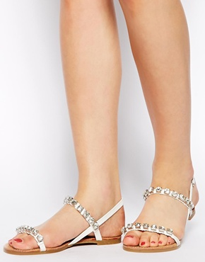 New Look | New Look Ginola Chunky Gem Flat Sandals at ASOS