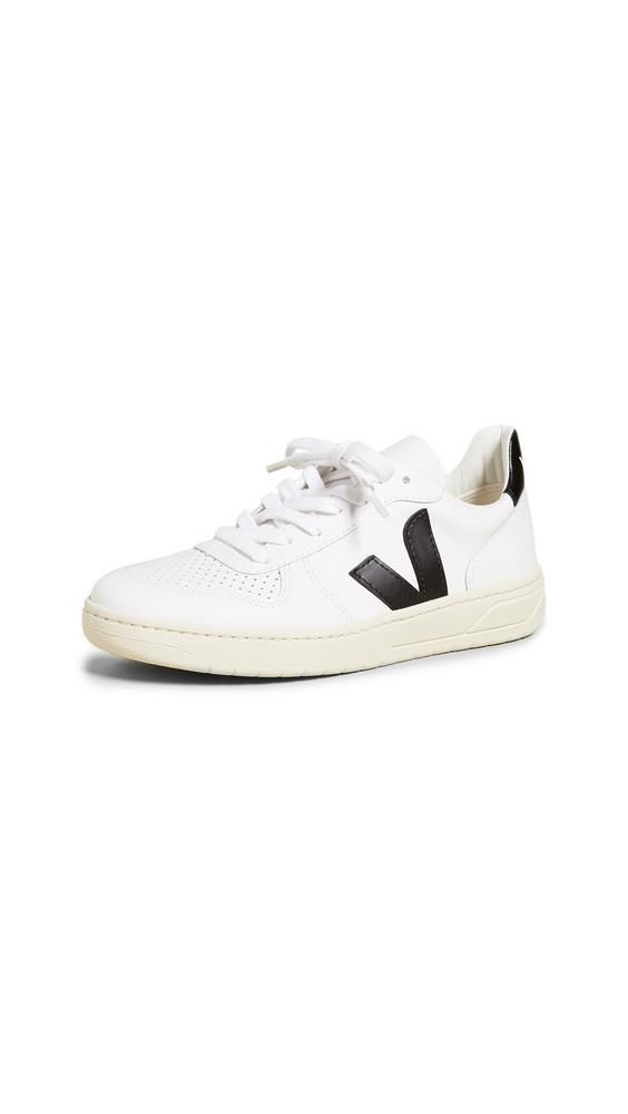 Veja V-10 Lace Up Sneakers in black / white