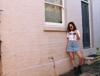 views of now blogger t-shirt sunglasses jacket skirt shoes