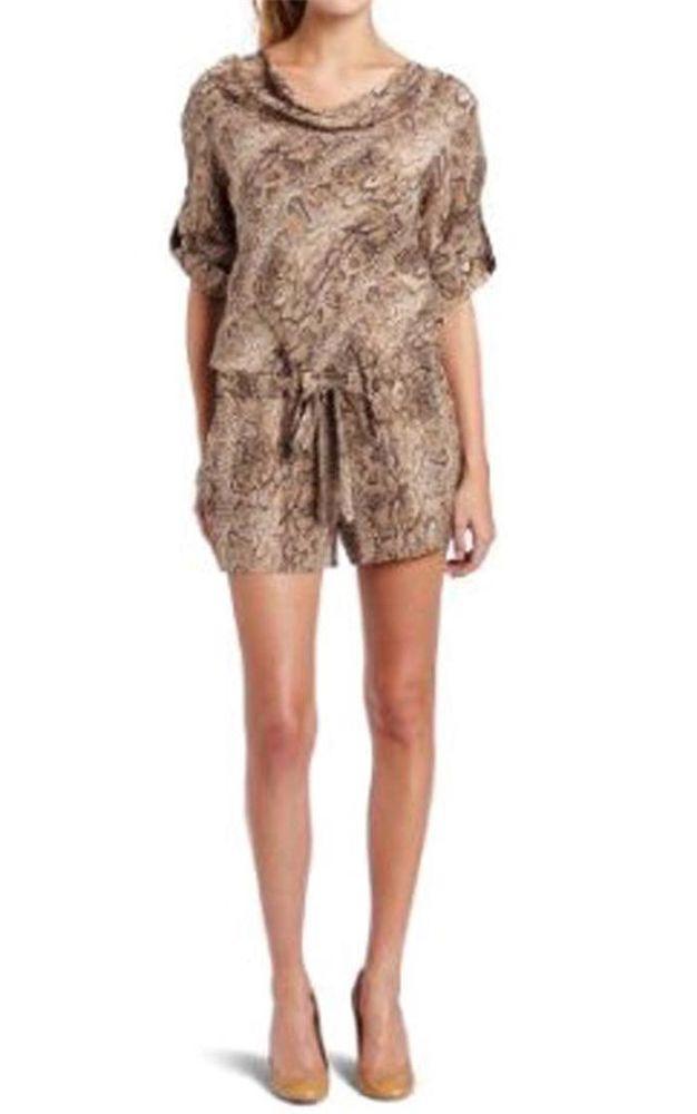 New with Tag $278 00 BCBGMAXAZRIA Marcelle Snakeskin Print Silk Romper Size M | eBay