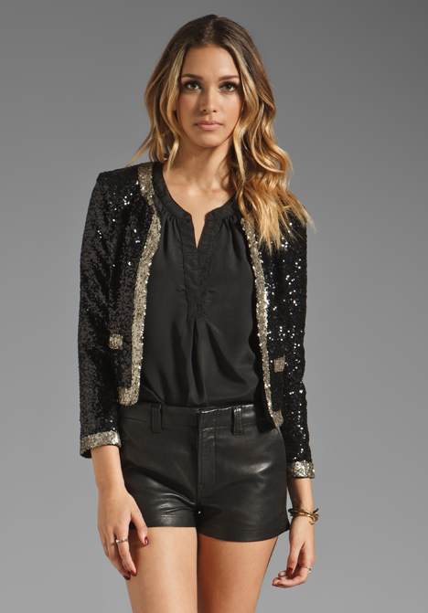 FRIENDS Excusez-Moi Jacket in Black/Bronze Sequin at Revolve ...