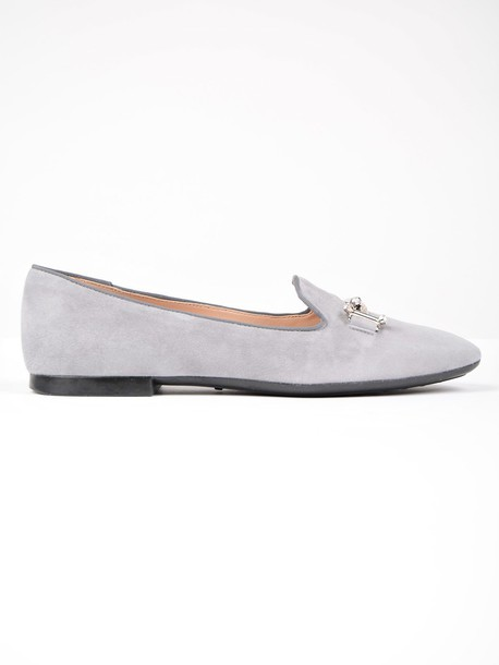Tods metal embellished slippers grey shoes