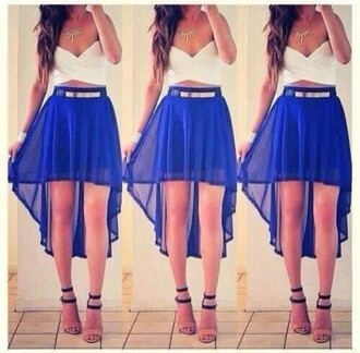 gold white blue necklace silver crop tops belt high-low skirt
