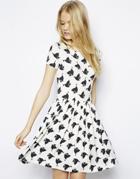 grey bird print bird print dress white dress