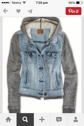 jacket blue blue denim grey denim hoodie sweater style fashion warm pinterest buttons button up pockets denim vest with grey sleeves/hoodie vest sleeves cute want!!!!