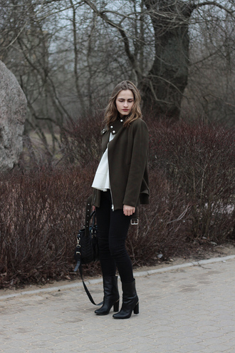 so in carmel blogger jacket black boots
