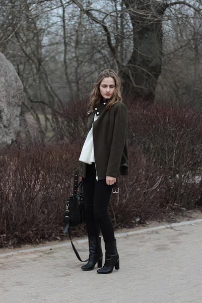 so in carmel blogger jacket black boots blouse pants bag