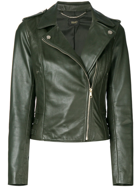 jacket biker jacket women leather cotton green