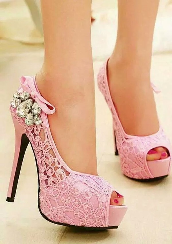 shoes heels lace pink rose
