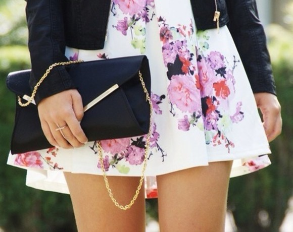 leather jacket skirt dress clutch floral black bag