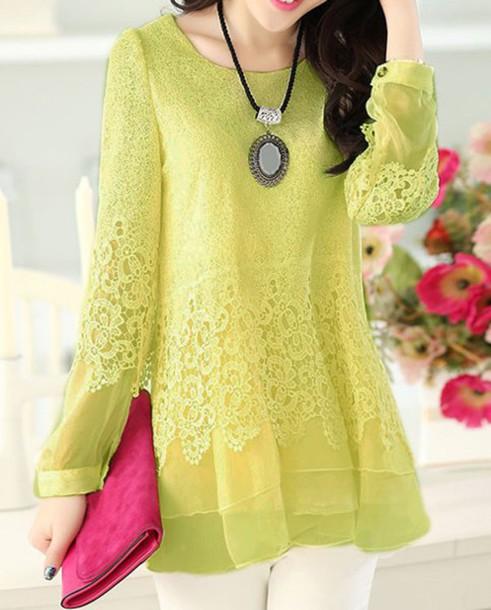 shirt green dress cute kawaii