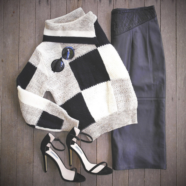 sweater plaid knit knitwear waffle knit vintage black ivory collar knitted sweater shoes