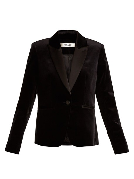 Diane Von Furstenberg blazer velvet black jacket