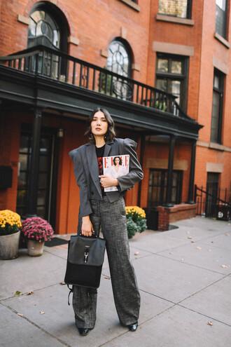 jacket grey jacket grey pants tumblr cropped jacket blazer grey blazer pants wide-leg pants bag black bag sunglasses