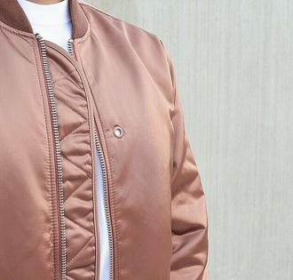 jacket nude bomber jacket urban pastel pink pink silk dusty pink fashion tumblr outfit urban college pin cream bomber jacket mauve flight jacket bomber style coat beige camel girls bomber jacket coat no hood buttons rose gold