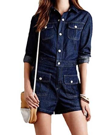 Amazon.com: haoduoyi Women Long Sleeve Denim Jeans Jumpsuit Bodysuit Romper Playsuit: Clothing