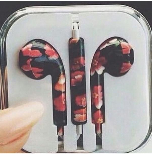 earphones tumblr white earphones golden earphones apple earphones pink earphones colorful earphones flower earphones fashion floral earphones metallic stereo earbuds