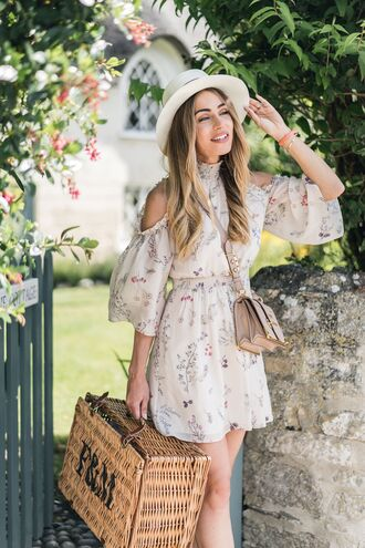 dress hat tumblr nude dress cut-out sun hat bag basket bag mini dress floral floral dress