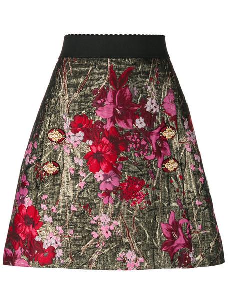 skirt women spandex jacquard floral silk