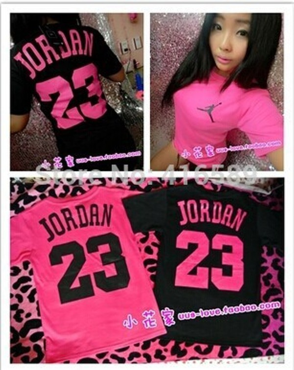 Shirt: pink, black, jordans, jordan #23 jersey, 23, number ...