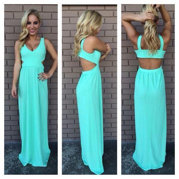 dress turquoise cute dress long dress mint maxi blue backless maxi dress pretty cut out back blue dress