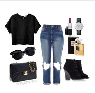 shoes top outfit jeans shirt