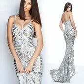 dress,sherri hill,red carpet dress,silver dress,sequin dress,prom dress,evening dress