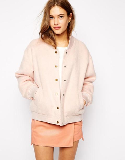 jacket bomber jacket skirt spring jacket back to school pastel pink blush pink pink jacket nude all nude everything leather skirt nude skirt baseball jacket