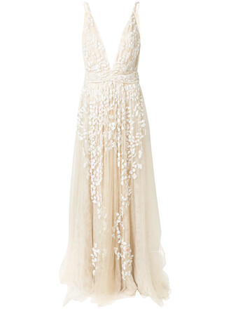 gown embroidered women nude silk dress
