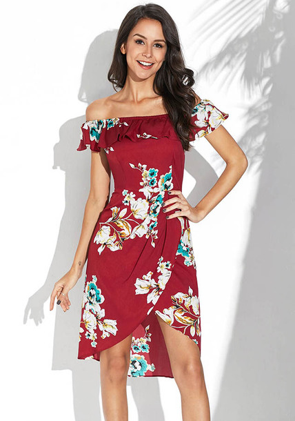 dress red dress off the shoulder dress vacation dress floral dress