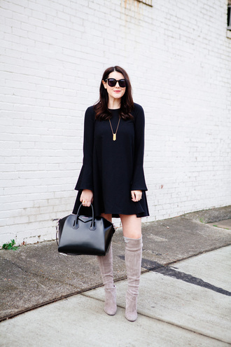 kendi everyday blogger suede boots black dress bell sleeves givenchy bag