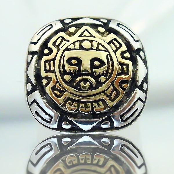 CUSTOM HANDMADE AZTEC 925 SILVER 9K GOLD RING