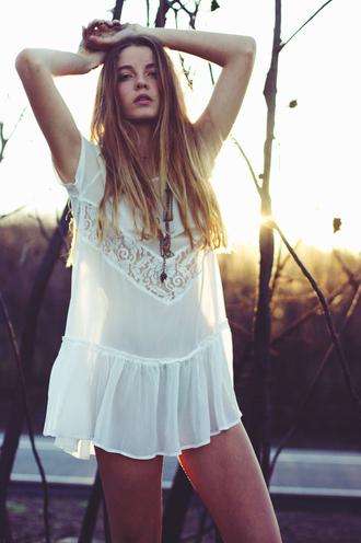 dress bohemian white lace see through boho gypsy