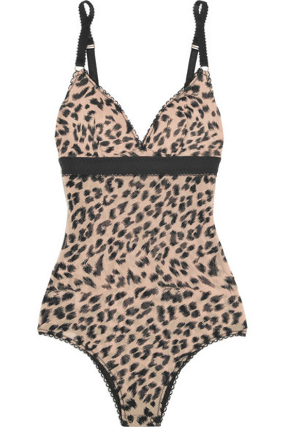 Stella McCartney bodysuit mesh bodysuit mesh print leopard print underwear