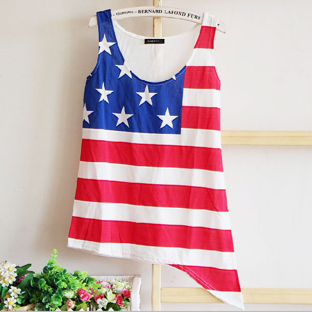 [grhmf26000131]Retro American Flag Printed Vest T-shir-white on Luulla