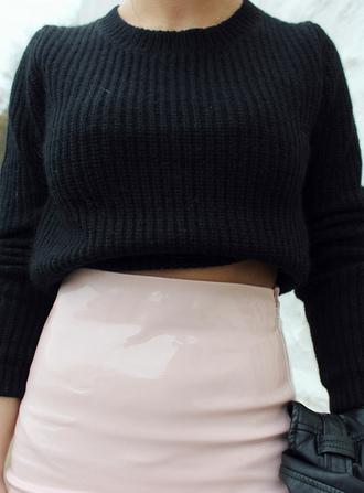 shirt pink shiny glossy skirt black sweater black crop top high waist skirt high waist skirts